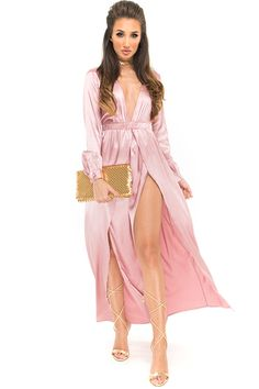 Megan McKenna Rose Satin Maxi Split Dress