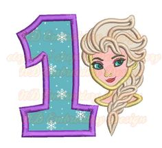 Cold Girl Face  st Birthday Embroidery Applique