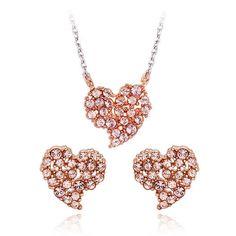 Swarovski Cristal Jewelry Lovely Heart Earing Necklace Sets[E_0238,N_0150] #SwarovskiCristalShopKBeautyGiftSet