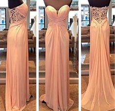Sweetheart Long Chiffon Prom Dress Lace Evening Dress Party Dress