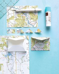 How to use a map to make envelopes and photo corners for a traveling scrapbook page.