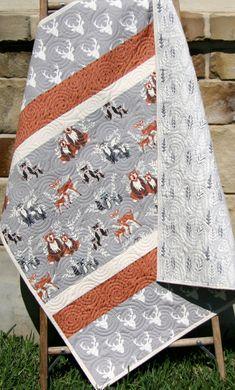 Boy Quilt, Baby Bedding, Hell Bear, Grey Orange, Fox Deer Bears Owls Raccoons, Forest Woodland Animals, Nursery Crib Blanket, Deer Head Boy Quilt Baby Bedding Hell Bear Grey Orange by SunnysideDesigns2