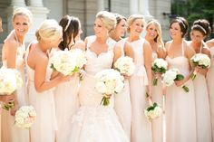 Blush Bridesmaids Dresses | photography by http://www.hsrphoto.com