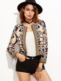 Multicolor Geo Print Blazer With Embroidered Tape Detail