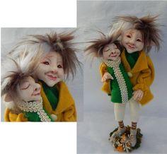 Elf Father & Son OOAK Fairy Fairies Art Dolls Posable NEW Figurine elves elfin Polymer Clay Sculpture by britpoprose99 on Etsy