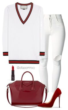 """""""Red wine x white"""" by efiaeemnxo ❤ liked on Polyvore featuring (+) PEOPLE, Gucci, Givenchy and Jimmy Choo"""