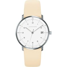 Junghans Max bill damen 047/4252.00 watch ($470) ❤ liked on Polyvore featuring jewelry, watches, polish jewelry, leather-strap watches, quartz movement watches, white jewelry and stainless steel jewelry