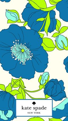 Blue Floral Kate Spade iPhone Wallpaper
