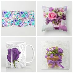 #purple #flowers #floral in different products #towels #pillow #mugs #metalprint and lots of more on store. Check more designs at society6.com/julianarw