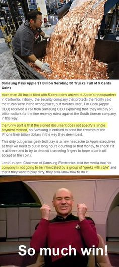 Funny Samsung coin payment to Apple...some lawyer failed pretty epically by not specifying a method of payment.