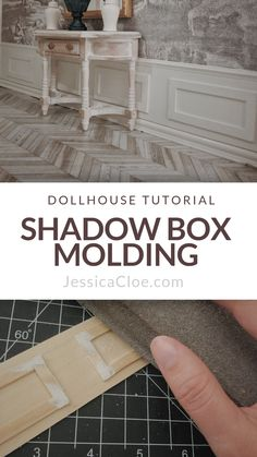 Shadow Box Molding — Jessica Cloe Miniatures - - I'm all about finding ways to dress up the walls in my dollhouse. For a recent project, I wanted to add a thin strip of shadow box molding along the base of the room. Dollhouse Miniature Tutorials, Miniature Crafts, Miniature Houses, Miniature Dolls, Modern Dollhouse, Diy Dollhouse, Dollhouse Miniatures, Dollhouse Design, Miniature Furniture