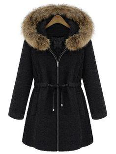 Shop Black Fur Trim Hood Drawstring Waist Wool Coat online. SheIn offers Black Fur Trim Hood Drawstring Waist Wool Coat & more to fit your fashionable needs.