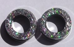 Silver Holograpic Sparkle Flesh Screw On Tunnels- Made to Order 2,0, 00 on Etsy, $15.00