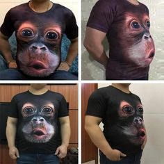 Funny Shit, Funny Jokes, Hilarious, Memes Humor, Funny Animals, Cute Animals, Monkey T Shirt, 3d T Shirts, Fathers Day Crafts