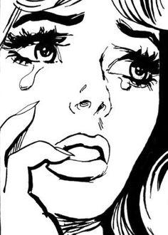 love hurt sad blackandwhite popart Using the penc Kunst Inspo, Art Inspo, Pop Art Drawing, Art Drawings, Comic Kunst, Comic Art, Art And Illustration, Vintage Pop Art, Arte Pop