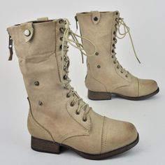 Women's Lace Up Military Army Combat Riding Fold Over Boots Shoes Wild Diva