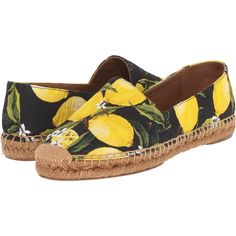 Dolce & Gabbana Espadrillas Broccato (Limoni/Fondo/Nero) Women's Shoes (€245) ❤ liked on Polyvore featuring shoes, yellow, yellow shoes, synthetic shoes, dolce gabbana shoes, slip-on shoes and pull on shoes