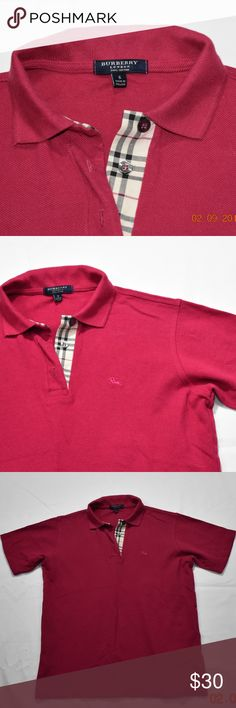 buberry polo magenta color. great condition. Burberry Shirts