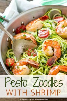 Pesto Zoodles with Shrimp | Zoodles Recipes | Shrimp Recipes | Seafood Recipes | Low Carb | Low Carb Recipes | Dinner Recipes | Spiralized Zucchini Recipes | Lunch Recipes | Healthy Recipes | Pesto Recipes | Healthy Fitness Meals | #healthyfitnessmeals #pesto #zoodles #shrimp #lowcarb