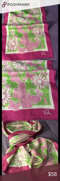 """Lily Pulitzer beautiful silk scarf Preown,55"""" long,12 3/4""""'wide,Brest cancer awareness scarf for Ford Lilly Pulitzer Accessories Scarves & Wraps"""