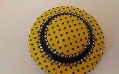 Broach Pin Hat Shaped Costume Jewelry Yellow and Black with Rhinestones