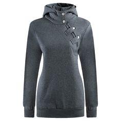 Djt Women's High Collar Long Sleeve Hooded Sweatshirt at Amazon Women's Clothing store: