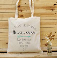 Tote Bag Nounou, cadeau nounou, cadeau fin année nounou, cadeau noël nounou, nounou en or
