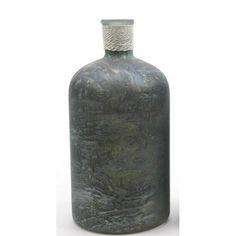 "10"" Seaside Treasures Handcrafted Marbled Seafoam Green and Black Glass Vase"