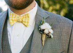yellow gingham bow tie #wedding