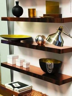 Copper Shelves A lackluster shelf gets a shot of glamour with the exact application of copper contact paper (or gold or silver, if you prefer). The simple and clean lines of the shelf make for an ideal application but if doubt your handiwork, the same look can be achieved with metallic spray paint.