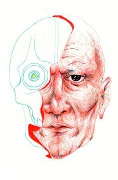 "Saatchi Art Artist TRIANTAFYLIA VASSOU; Drawing, ""Silicone Face"" #art"