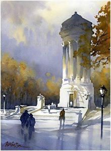 soldiers and sailors monument - nyc,2 by Thomas  W. Schaller Watercolor ~ 22 inches x 14 inches