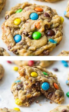 Flourless monster cookies are gooey and chewy and chocolatey! These amazing and easy to make flourless monster cookies are filled with flavorful and c. Gluten Free Sweets, Gluten Free Cookies, Gluten Free Baking, Sugar Cookies, Gluten Free Bars, Gluten Free Cookie Recipes, Ginger Cookies, Free Recipes, Best Cookie Recipes