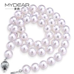 MYDEAR Pearl Jewelry Channel Fashion 100% Real 8-8.5mm Akoya Pearl Necklace Gold Chain,Perfectly Round,High Luster