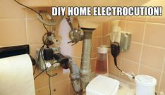 Oh no! We don't even know what to say about this! Save yourself the danger and wasted money on DIY Plumbing fixes! Call a professional at Dial One Johnson Plumbing!