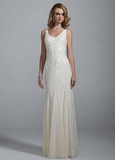 Stretch Mesh V Neck Wedding Dress with Sequin Detail Ivory David's Bridal,http://www.amazon.com/dp/B00FDR4CFY/ref=cm_sw_r_pi_dp_UwpBtb12K7WW4QW0