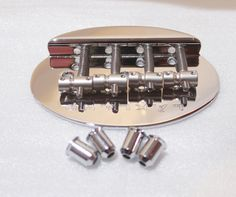 Lakland Bass Bridge 4 string with Mounting Ferrules, Chrome.