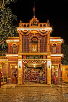 Main Street Fire Department   Fun Fact: The First Building to be completed in Disneyland.  Walt Disneys office/apartment.  Walt would leave the light on in the window so everyone knew when he was there and turn it off if he was leaving.   After his death, the light is always left on in his memory.
