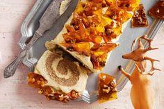 Spiced caramel buche de noel with toffee nut bark