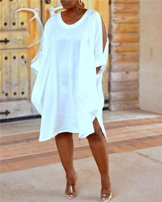 Ericdress Plus Size Casual Cold Shoulder Mid-Calf Round Neck White Dress Fashion girls, party dresses long dress for short Women, casual summer outfit ideas, party dresses Fashion Trends, Latest Fashion # Plus Size Mini Dresses, Plus Size Outfits, Ladies Day Dresses, Maxi Robes, Plus Size Kleidung, Plus Size Casual, Loose Shirts, White Mini Dress, Short Sleeve Dresses