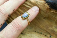 Australian Opal Ring in Yellow Gold II Gold Hoop Earrings, Gold Hoops, Gemstone Earrings, Raw Stone Jewelry, Raw Gemstones, Australian Opal, Opal Rings, Artisan Jewelry, Peridot