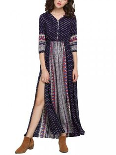 Bohemian Button Half Sleeve Printed V-Neck Beach Maxi Dress-fashion, - newchic.com Mobile