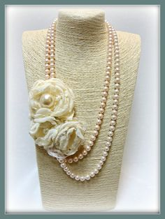 Romantic bridal pearl necklace-shabby chic-handmade-ivory fabric flowers-brooches-muslin organza flowers-bride-wedding-feminine-bridal by veniakriezia on Etsy
