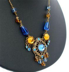 "Vintage Austria Rhinestone Lavalier Necklace 16"" Marked Blue Citrine Glass Bead   eBay"