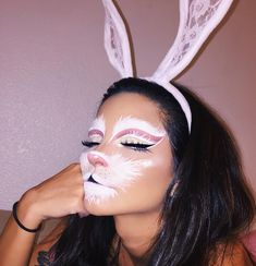 bunny makeup for halloween Halloween Inspo, Halloween Makeup Looks, Cute Halloween, Halloween Outfits, Pretty Halloween Costumes, Animal Halloween Costumes, Disney Halloween Makeup, Beautiful Halloween Makeup, Rabbit Halloween