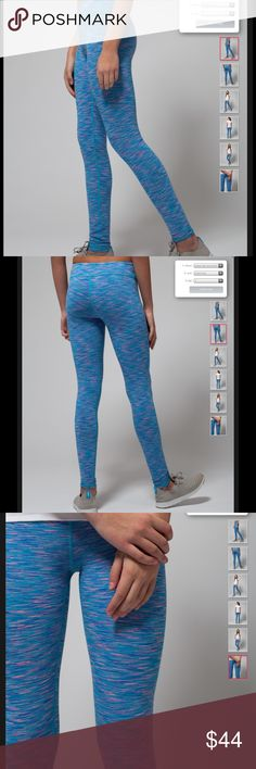 NWT Ivivva 14 rhythmic tights space dye blue/pink Brand new with tags, in stores and online now...Ivivva rhythmic tights in space dye. Here are a girls 14. Ivivva is the youth/tween line made by lululemon. These would also fit a lulu 4. Retailing now for $64. Four–way stretch tights that are so comfortable, you will want to wear them for all of your athletic activities! Made with naturally breathable, sweat–wicking Luon® fabric Added LYCRA® fibre for serious stretch and long–term shape…