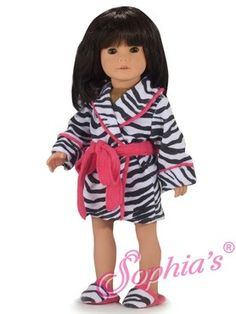 Zebra Print Terry Robe   Slippers Fits 18 Inch American Girl Dolls Clothes American  Girl Doll 2097a482d8eb