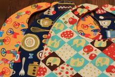 large bibs with pocket for crumbs - sewing instructions too!