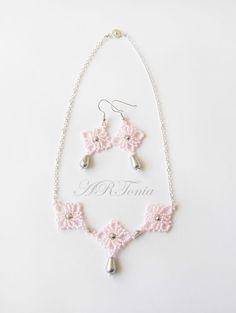 ARToniabeads beaded necklace beadwork beadweaving beaded netting bridal set jewellery