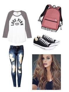 """""""❤️"""" by patrician7 ❤ liked on Polyvore featuring Victoria's Secret and Converse"""